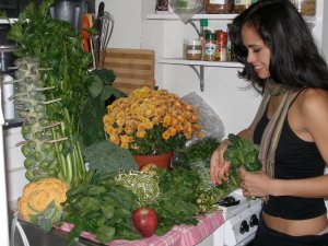 Saturday afternoon- Me unloading all the veggies I bought up at the Union Square Farmer's Market. I also love seasonal flowers, which are so affordable and gorgeous!