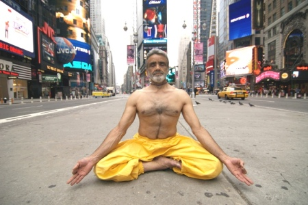 """Sri Dharma Mittra in Times Square. """"All is within,"""" he always says."""